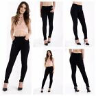 WOMENS GIRLS BLACK SCHOOL TROUSERS LYCRA STRETCH WORK CASUAL POCKET OFFICE PANTS