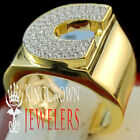 Mens Big Bold 10K Yellow Gold On Real Silver Initial Letter C Simu Diamond Ring