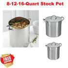 8 quart stainless steel pot - Stainless Steel Stock Pot 8 12 16 Quart Metal Lid Durable Safe Stay-Cool Riveted