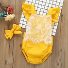 2PCS Newborn Infant Kids Baby Girls Clothes Set Romper+Headband Outfits hot sale
