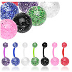 FLEXI Acrylic Pastel Glitter Belly Navel Bar No Metal Body Piercing Jewellery