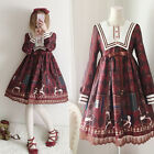 VTG Kawaii Harajuku Sweet Lolita Gothic Royal Horse Print Lace Princess Dress