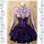 Gothic Lolita Dress SK Lavender High Waist Lace Up Ruffle Black Red Lolita Skirt