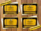 Personalised VIP Golden Ticket Birthday Party Invitations Gold & Black Free P&P