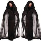 Halloween Cosplay Ghost Witch Masquerade Black Tulle Cape Dress For Women Men