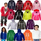 KIDS GIRLS HODDIE PLAIN ZIP UP HOODED TOP BASIC HOODY SWEATSHIRT JACKET UNISEX