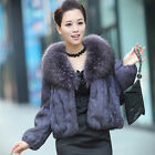 Womens Elegantreal fur jacket fashion short outwear slim fit soft coat luxury