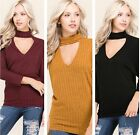 Choker Neck Cutout Detail Brushed Hacci Ribbed 3/4 Sleeve Soft Sweater Knit Top