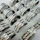 1pcs 2-rows rhinestone silver plated Stainless steel Rings Jewelry free shipping