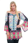 Off Shoulder TUNIC Long Colorful Bell Sleeves PLUS SIZE Top 1X/2X/3X Free Ship