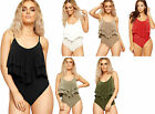 New Ladies Women's Double Frill Strappy Cami Bodysuit Stretchy Leotard Top 8-14