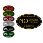 "Private Property No Soliciting Trespassing Loitering 12"" x 7"" Aluminum Sign"