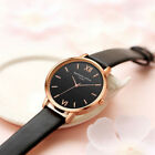 Fashion Women Mens Stainless Steel Leather Retro Roman Quartz Analog Wrist Watch image