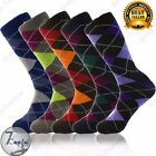 Внешний вид - 3 6 9 12 Pairs Mens Argyle Diamond Dress Socks Cotton Multi Color Size 10-13