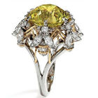 Quartz&White Topaz Crystal Ring 925 Silver Filled Bee Round Cut Yellow Sapphire
