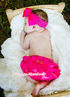 Infant Newborn Baby Hot Pink Satin Layers Bloomer Pantie wif Rose 2PC Set 6m-3Y