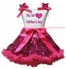My 1ST Heart Father Day White Top Hot Pink Bling Sequins Skirt Girl Outfit 1-8Y