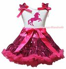 Horse Unicorn Print White Cotton Top Hot Pink Bling Sequins Skirt Girl Set 1-8Y