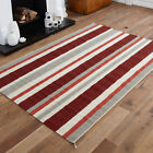 LARGE KILIM RED FLAT WOOL STRIPE MAT CLEARANCE RUG 170 x 240 cm HAND WOVEN RUG