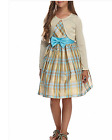 New Bonnie Jean Girls Dress Metallic Plaid Blue Gold w/Cardigan  Sz 7 8 10 12