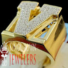 Mens Big Bold 10K Yellow Gold On Real Silver Initial Letter V Simu Diamond Ring