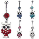Delightful OWL Drop Body Belly Button Ring Crystal Dangly Navel Bar (JBD18)