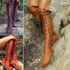Womens Gladiator Lace Up Knee High Boots Winter Flat Vogue Shoes Goth Chz
