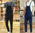 Mens Casual Suspenders Jumpsuits Romper Dungarees Straight Pants Overalls Chz