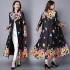 Retro Womens Full Length Trench Coat Ethnic Trend Prints Single-breasted cHZ