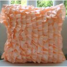 "Vinage Style Ruffles Pink Satin 16""x16"" Pillow Covers - Vintage Peach Sorbet"