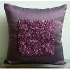 "Textured Ribbon 16""x16"" Art Silk Plum Throw Pillow Covers - Plum Vintage Love"