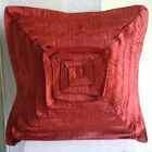 "Rustyfrills - Orange Crushed Art Silk 16""x16"" Throw Pillow Covers"