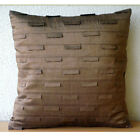 "Pintucks 16""x16"" Art Silk Brown Decorative Pillows Cover - Brown Ocean"