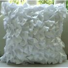 "Vinage Style Ruffles 16""x16"" Satin White Pillow Cases - Vintage Whites"