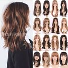 black hair with ombre red - Long Hair Wig Straight Curly Full Wig With Bangs Women Cosplay Highlight Ombre