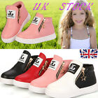 UK Kids Girl Boys Winter Ankle Boots Sport Sneaker Trainers Zipper Cotton Shoes