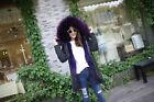 Winter thicken Real Raccoon Fur Lining  Collar Parka Coat  Hooded Outwear violet