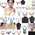 Fashion Women Crystal Bib Pendant Choker Chunky Statement Chain Necklace Earring image