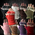NEW Fur Lined Ladies Faux Suede Fingerless Gloves UK Seller