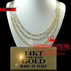 """14K REAL SOLID HEAVY YELLOW ITALIAN GOLD FIGARO LINK CHAIN NECKLACE 2MM 16""""-24"""""""