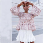 Tops Blouses - Sexy Long Sleeve Lace Casual Blouse Loose Tops T Shirt Fashion Womens