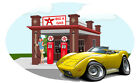 1973 Corvette Big A Gas Station Wall Decal Classic Muscle Car Man Cave Decor