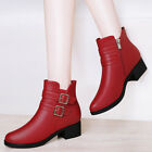 Girls Womens  PU Leather Round Toe Heigh Heel Platform Ankle Boots Shoes Zip