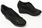 SALE! GEOX WOMENS HOXTON BY PATRICK COX 70S STUDDED WEDGES IN BLACK RACK 1D
