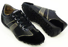 SALE! GEOX WOMENS SNAKE RETRO INDIE LEATHER & SUEDE TRAINERS IN BLACK RACK 9D