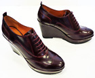 SALE! GEOX WOMENS ARMONIA RETRO BRUSHED LEATHER WEDGE SHOES IN BORDEAUX RACK 9D