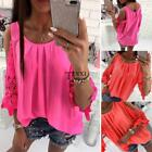 Women Casual O-Neck 3/4 Sleeve Lace Cold Shoulder Pullover Loose Tops TXSU