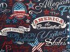 American Flag Words Fabric USA Cotton Patriotic Timeless Tre