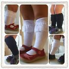 New Girls Lace Knee Socks Boot Socks White or Black M2M Matilda Jane Size  3T-5T