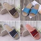 Unisex Linen Flax Plaid House Flat Slipper Indoor Home Open Cozy Toe Scuffs